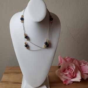 [Statement Necklace] Blue & Gold Ball Strand